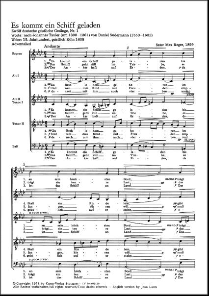 3 Stimmige Weihnachtslieder.Reger Max 1873 1916 Weihnachtslieder Für Gem Chor A Capella